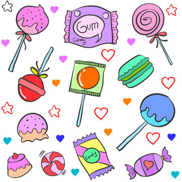 Candy various cartoon doodle style