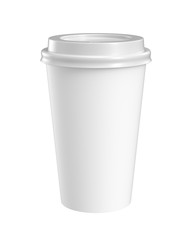 paper coffee cup isolated on white background, 3D rendering