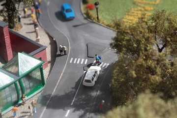 Miniature city and people
