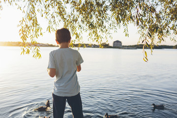 Sweden, Blekinge, Karlskrona, Boy (8-9) looking at ducks on sea