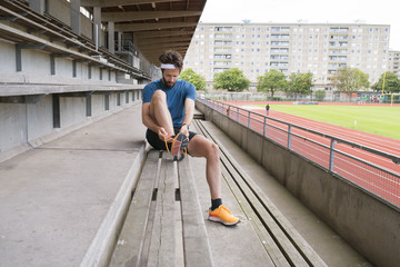 Sweden, Skane, Malmo, Athlete preparing for training