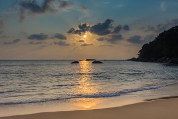 Sunset on the beach. Phang Nga Province, Thailand.