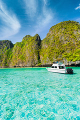 Boats of tourists to Maya Bay, Phi Phi in the summer