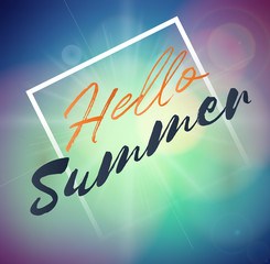 Hello Summer Holiday background with sun light. Vector background for banner,poster,flyer