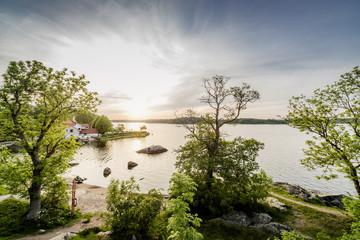Sweden, Stockholm Archipelago, Uppland, Vaxholm, Bay on sunny day