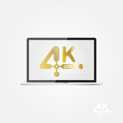 4K Ultra HD golden vector icon on the laptop screen. Flat vector illustration EPS10