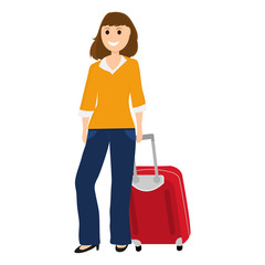 Woman tourist with a suitcase