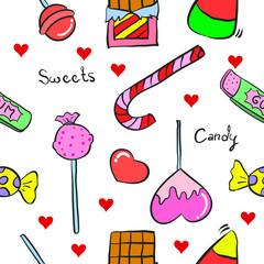 Illustration sweet candy in doodle style