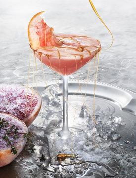 Sweden, Studio shot of pomegranate cocktail