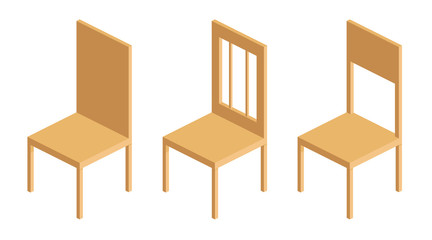 set of wooden chairs with backrest in isometric vector illustration isolated elements on white background flat Chairs by four legs and have a back