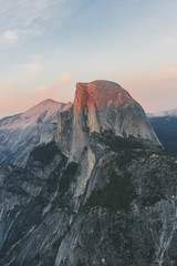 USA, California, Yosemite National Park, Half Dome at sunset
