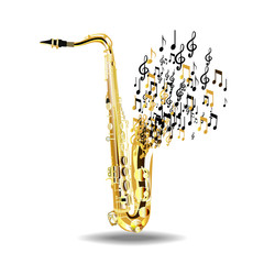 The saxophone breaks into notes, isolated on a white background.