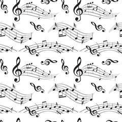 seamless pattern with music notes - vector background