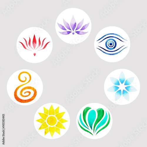 7 Color Of Chakra Symbol Concept Flower Floral Watercolor Painting