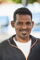 Sweden, Bleking, Solvesborg, Portrait of smiling man wearing cardigan