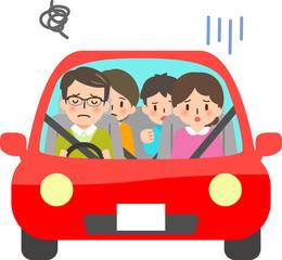 車の中で困っている家族