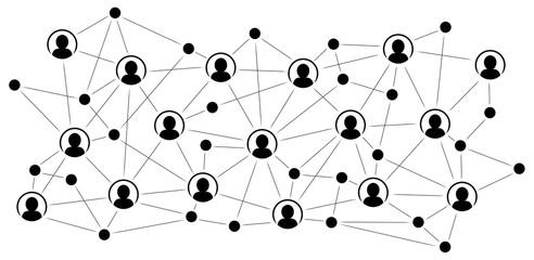 Soziales Netzwerk / Schwarz-weiß, Vektor, freigestellt