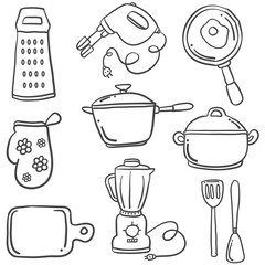 Kitchen set with doodle style
