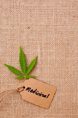 Marijuana - Cannabis - Medicinal with tab with burlap hessian background