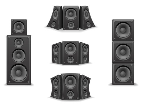 Music Speaker Twisted Isolated 3d Realistic Icons Set Design Vector Illustration