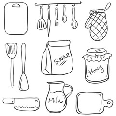 Hand draw of kitchen set doodles