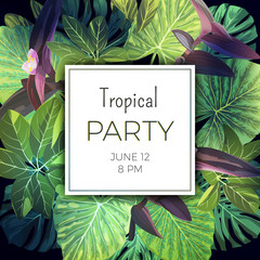 Summer tropical party flyer template with palm leaves and exotic purple flowers. Vector floral background.