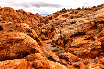 Scenic Landscape of Rock Formations in desert of southern Nevada, USA