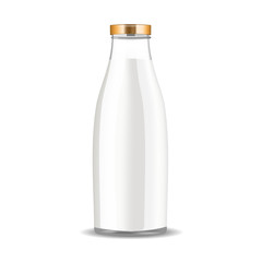 Realistic vector transparent glass milk bottle isolated.