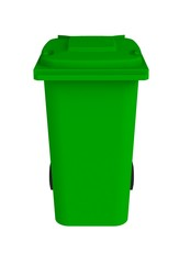 Front view of green garbage wheelie bin with a closed lid on a white background, 3D rendering