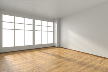 Empty room with parquet floor, textured white walls and window