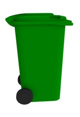 Beside view of green garbage wheelie bin with a closed lid on a white background, 3D rendering