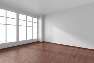 Empty room with dark wooden parquet floor, textured white walls and window