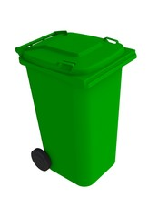 Isometric view of green garbage wheelie bin with a closed lid on a white background, 3D rendering