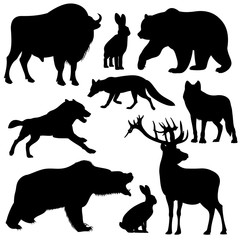 Black vector outline wild forest animals silhouettes