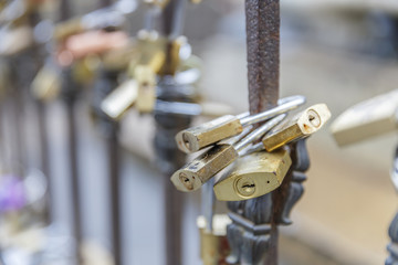 The locks of love hung for the fence.Italy.Florence