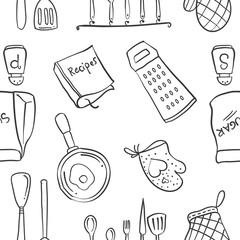 Doodle of kitchen set pattern style