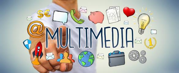 Businessman using hand-drawn multimedia technology presentation