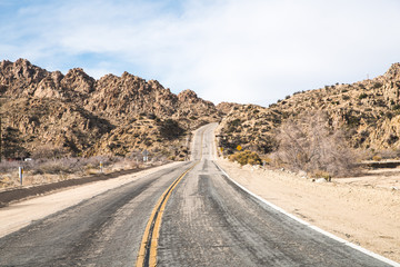 Endless road In Joshua Tree California