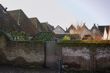 Traditional Dutch old roofs in small village