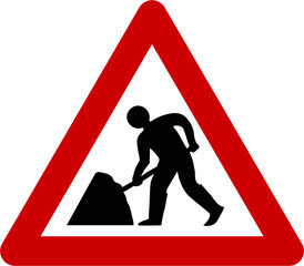 Warning sign with road works