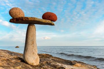 Balancing several of stones