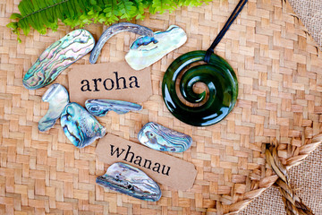 Poster de jardin Océanie NZ - Kiwi - Maori theme - backgrounds and objects - maori words for love and respect (aroha) and family (whanau)