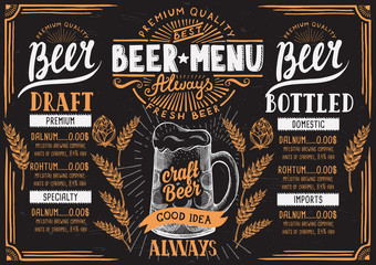 Beer menu restaurant, drink template.