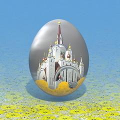 пасхальное яйцо с храмом на фоне скатерти с желтыми цветами