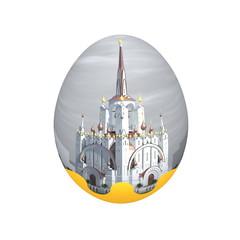 Пасхальное яйцо с изображением православного храма на белом фоне