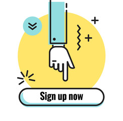 Hand pointing button Sign up now. Modern line art icon for apps and websites Vector illustration