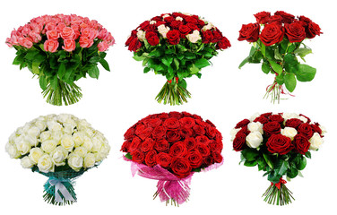 Set of bouquet of multi-colored roses isolated on white background