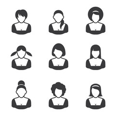 Set of avatars icons - women