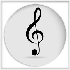Icon black treble clef isolated on white background. Music key. Musical symbol.