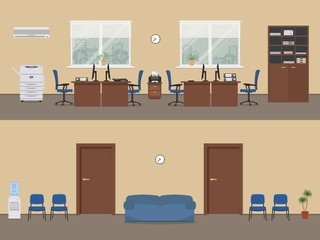 Office premises in a beige color. Office room with brown furniture and blue chairs, a corridor. There is a cabinet, a copy machine, a printer, a conditioner and other objects in the picture. Vector